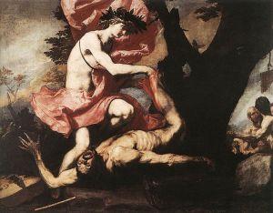 Apollo obdziera Marsjasza ze skóry,Jusepe de Ribera, olej na płótnie, [źródło zdjęcia].