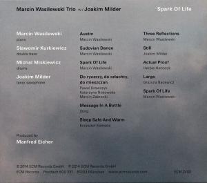 Spark of Life, Marcin Wasilewski, ECM 2014 strona tylna okładki