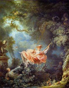 Jean-Honoré Fragonard, Huśtawka, olej na płótnie. [Źródło zdjęcia].