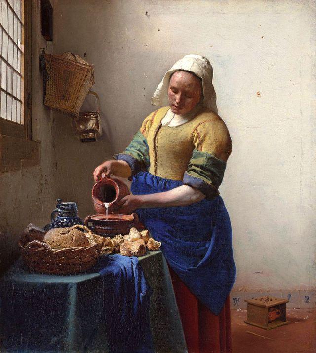 Mleczarka lub Nalewająca mleko, ok. 1660, Jan Vermeer, Rijksmuseum, Amsterdam, [źródło zdjęcia]