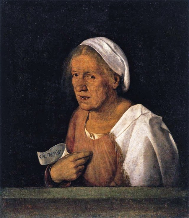 [Giorgione (Giorgio Barbarelli from Castelfranco 1477-1510) The Old Woman 1505, źródło zdjęcia].