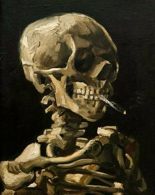 [Czaszka z palącym się papierosem Vincent Van Gogh źródło zdjęcia].