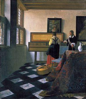 Lekcja Muzyki (Dama przy wirginale w towarzystwie mężczyzny), 1662-1664 olej/płótno Londyn, Buckingham Palace, Royal Collection, Jan Vermeer van Delft