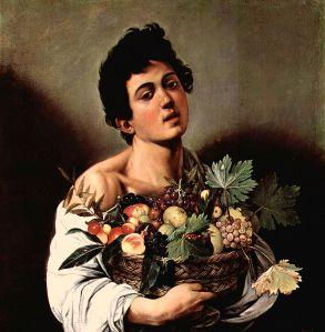 [Chłopiec z koszem owoców, Michelangelo Merisi da Caravaggio,olej na płótnie, Galeria Borghese, źródło zdjęcia].