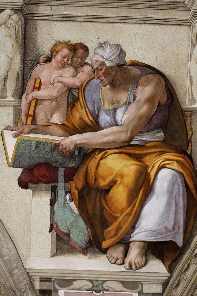 ['Cumaean_Sibyl_Sistine_Chapel_ceiling'_by_Michelangelo Sybilla umięśniona jak zwykle postaci kobiece u tegoż malarza, źródło zdjęcia].